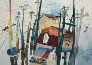 4. Web above the Houses, watercolour on paper, 25.2x35.5cm