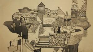 5. I ran around in the Neighbourhood, ink on paper, 34x60cm