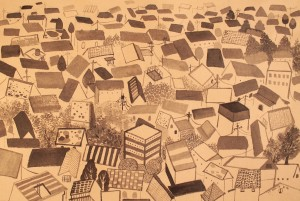 19. The Roofs, ink on paper, 27x42.2cm