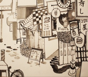 21. Street View, ink on paper, 24.2x27.2cm